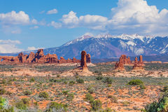 Beautiful view of Mt Waas and Arches park plateau Royalty Free Stock Image