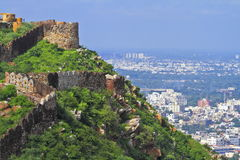 Beautiful View From Nahargarh Fort. Top view from Nahargarh fort towards Pink City Jaipur royalty free stock photos