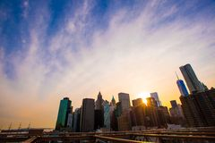 Beautiful view of New York from Brooklyn Bridge at Stock Photo