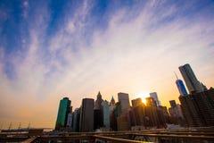 Beautiful view of New York from Brooklyn Bridge at Stock Photo