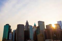 Beautiful view of New York from Brooklyn Bridge at Stock Image