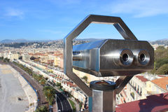 Beautiful View of Nice with a Telescope Royalty Free Stock Image