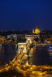Beautiful view on night Budapest from above Royalty Free Stock Photos