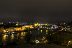 Beautiful view on the night cityscape of Prague from Letna with many bridges across the river Stock Photo