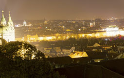 Beautiful view on the night cityscape of Prague from Letna with many bridges across the river Stock Image