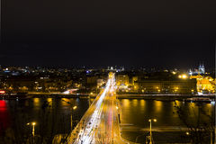 Beautiful view on the night cityscape of Prague from Letna Stock Images