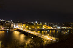 Beautiful view on the night cityscape of Prague from Letna Stock Image