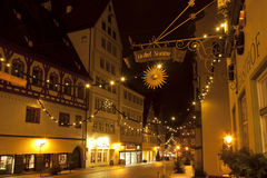 Beautiful view by night of the historic town of Nordlingen Stock Photo
