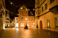 Beautiful view by night of the historic town of Nordlingen Royalty Free Stock Images