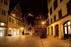 Beautiful view by night of the historic town of Nordlingen Royalty Free Stock Photo