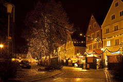 Beautiful view by night of the historic town of Nordlingen Stock Image