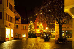 Beautiful view by night of the historic town of Nordlingen Stock Images