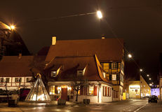 Beautiful view by night of the historic town of Nordlingen Royalty Free Stock Image