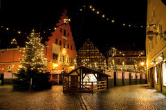 Beautiful view by night of the historic town of Nordlingen, Royalty Free Stock Photos