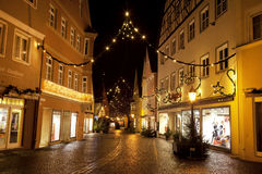 Beautiful view by night of the historic town of Nordlingen Stock Photos