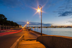 Beautiful view of the night St. Petersburg from the embankment of the Neva River Royalty Free Stock Photography