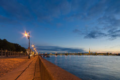 Beautiful view of the night St. Petersburg from the embankment of the Neva River Stock Photography