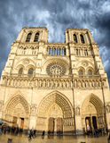 Beautiful view of Notre Dame Cathedral in Paris on a clody sprin Stock Image