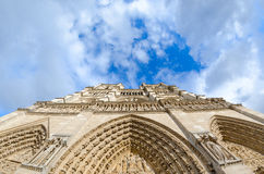 Beautiful view of Notre Dame Cathedral in Paris on a clody sprin Royalty Free Stock Photo
