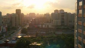 Beautiful view of Novosibirsk skyline at sunset stock footage