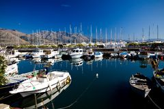 Beautiful View Of Anchored Boats And Yachts Royalty Free Stock Images