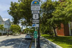 Free Beautiful View Of Area Around Marker US Highway 1 Mile 0. Key West. Florida. Stock Image - 161426871