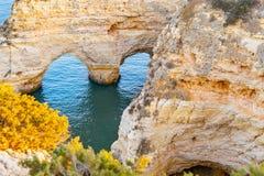 Free Beautiful View Of Praia Da Marinha. Rocks, Cliff  And Green Plants In Algarve, Faro, Portugal. Turquoise Water Of Atlantic Ocean. Stock Image - 179158241
