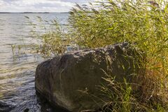 Free Beautiful View Of Rocky Coast And Waves Baltic Sea Near Big Rock. Beautiful Nature Landscape Backgrounds. Sweden, Stock Photography - 194802312