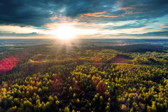 Free Beautiful View Of The Tops Of Trees At Sunset. Royalty Free Stock Photos - 92138068