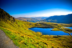 Beautiful view ofmountain range with blue lake Stock Image