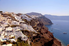 Beautiful view of Oia village, caldera and Aegean sea, Santorini Royalty Free Stock Photo