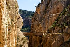 Beautiful view of old bridge in El Chorro gorge Stock Photography