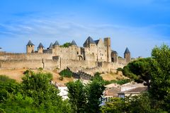Beautiful view of old fortress of Carcassone. France. It was added to the UNESCO list of World Heritage Sites in 1997. Beautiful view of the old fortress of stock images