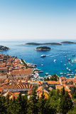 Beautiful view of old harbor in Hvar town Royalty Free Stock Photo