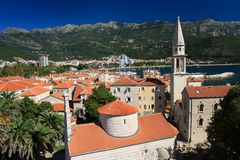 Beautiful view of the old town of Budva of a citadel Royalty Free Stock Photography