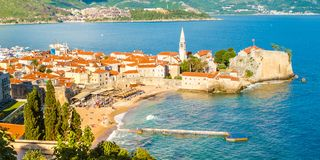 Beautiful view of the old town of Budva in evening, Budva. Montenegro stock photography