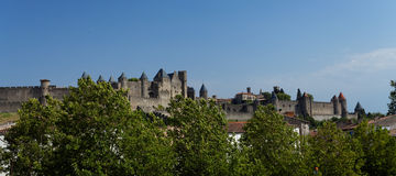 Beautiful view of old town of Carcassone in France Royalty Free Stock Photos