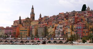 Beautiful view of the old town and the colorful houses of Menton stock video footage