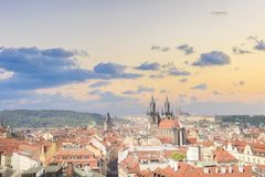 Beautiful view of the Old Town Square, and Tyn Church and St. Vitus Cathedral in Prague, Czech Republic. On a sunny day royalty free stock photos