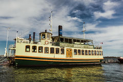 Beautiful view of old vintage retro steam cruise boat arrived to pickup their passengers for a ride on lake Ontario Royalty Free Stock Photos