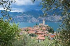 Beautiful view through olive branches to tourist destination mal Stock Photos