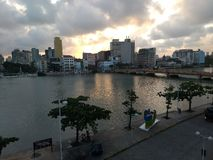 Sunset in the old Recife neighborhood royalty free stock photos