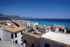 Beautiful view over Altea and turquois mediterranean sea. Beautiful view over Altea, Spain and turquois mediterranean sea royalty free stock images