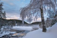 A beautiful view over the cold snow winter lake in evening light Royalty Free Stock Image