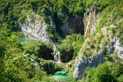 Small lakes and waterfalls in Plitvice National Park, Croatia. royalty free stock photo