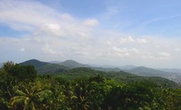 Beautiful view over the mountain range at the west of thailand royalty free stock photography