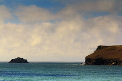 Beautiful view over the sea from Polzeath Stock Images