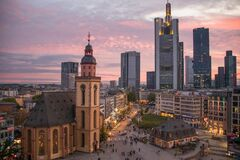 Beautiful view over the skyline of Frankfurt, Germany during sunset in times of COVID-19