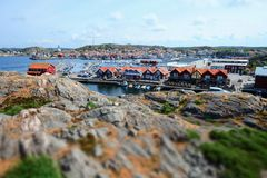Beautiful view over a small swedish fishing town royalty free stock photo