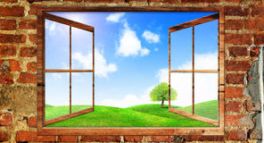 Beautiful view over a window. Of green field with blue sky Royalty Free Stock Photos